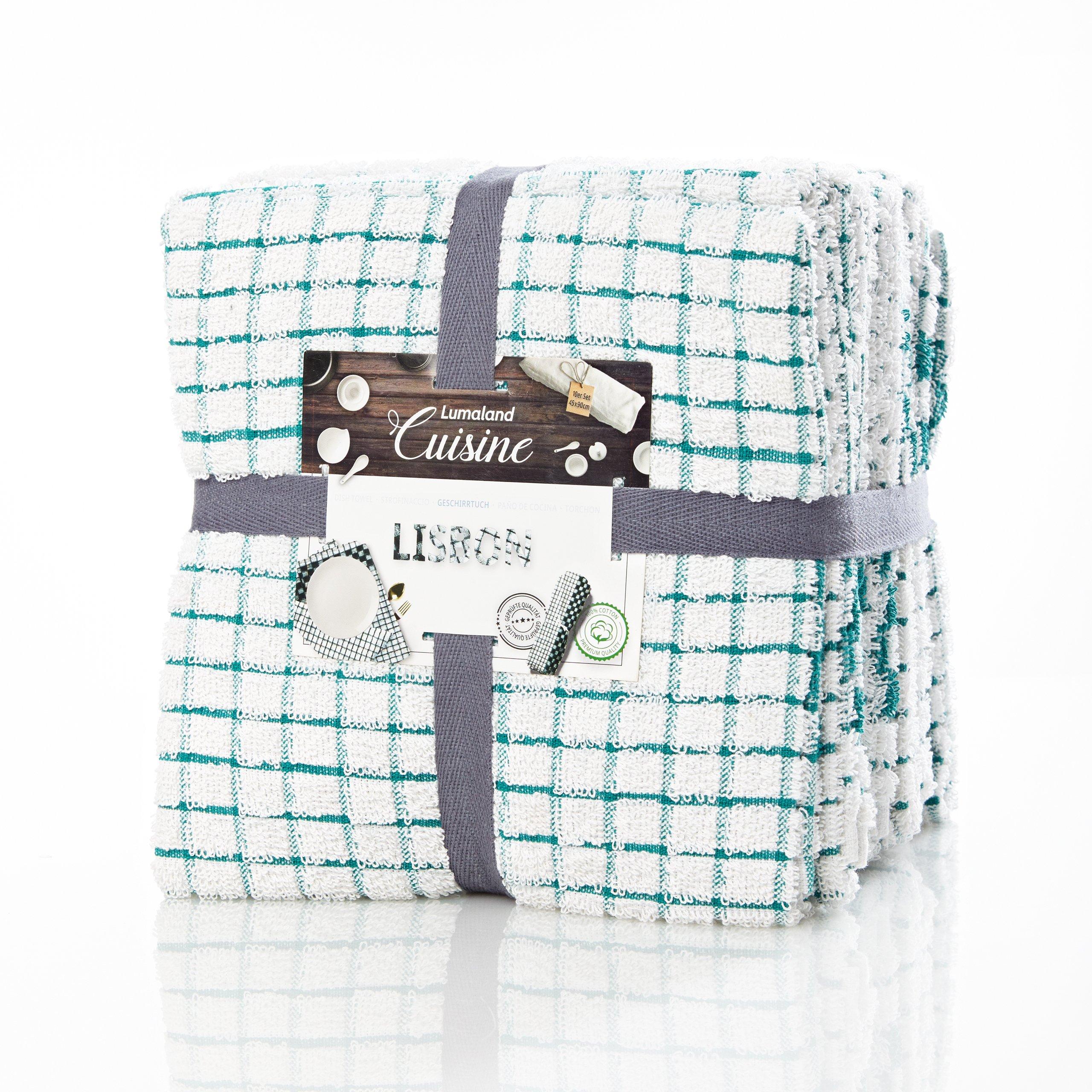 Lumaland Paños de Cocina Serie de Lisboa 5 Colores Set 10 Piezas 100% algodón 45