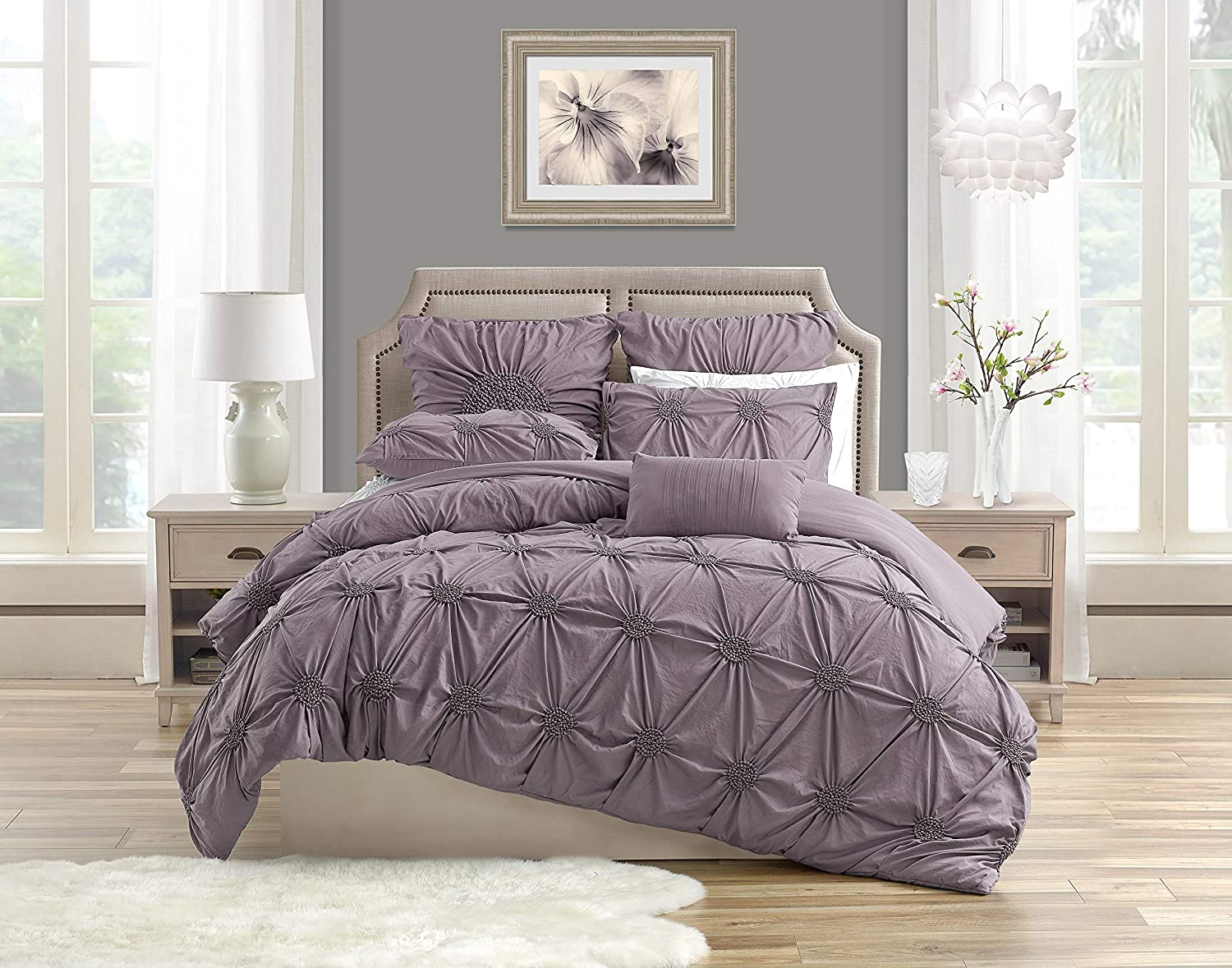 Swift Home Premium Romantic Bedding Set Collection 3-Piece Ruched Pinch Pleat Rosette Floral Pintuck Duvet Cover & Sham Set - King/Cal King, Mauve