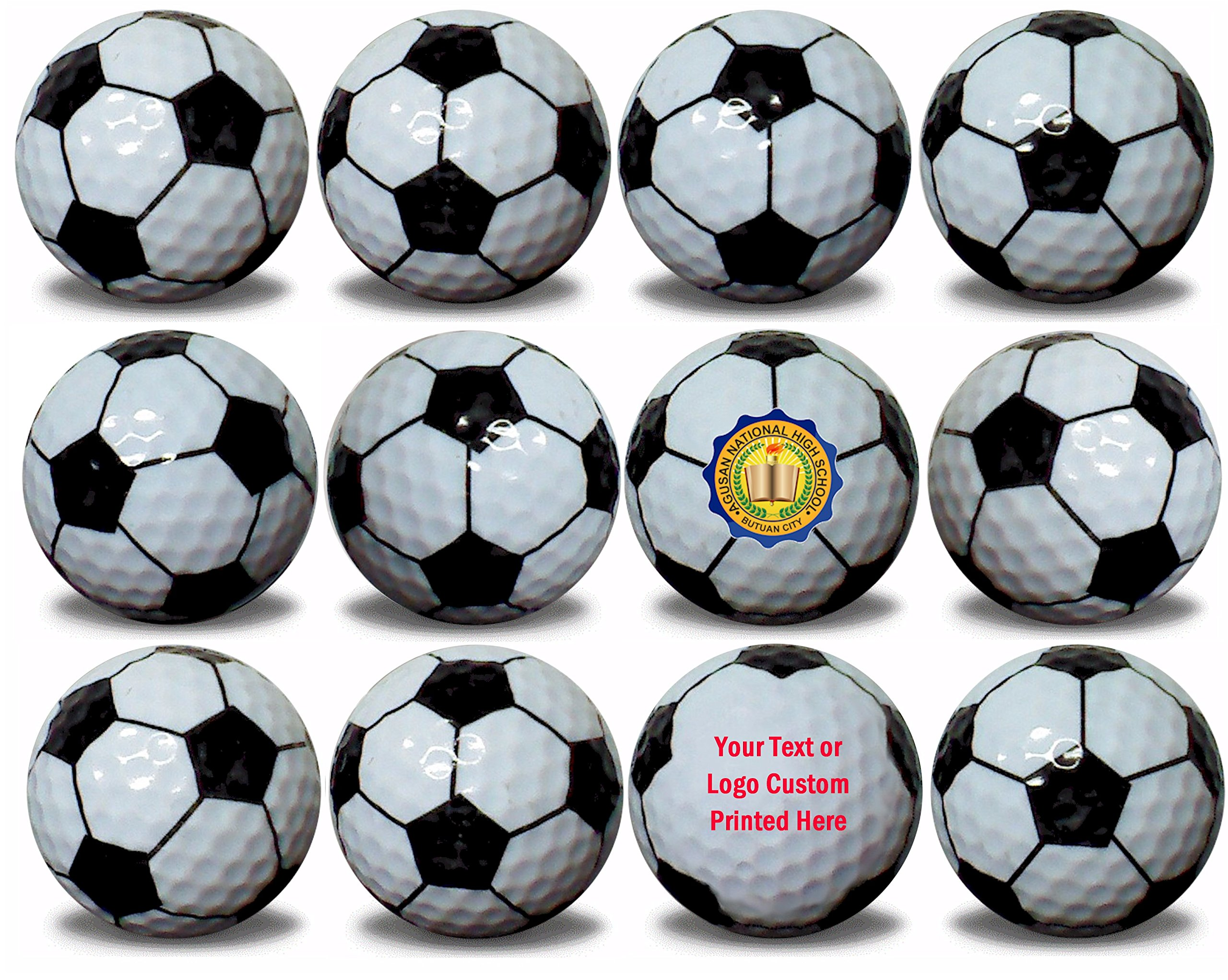 Custom Printed Soccer Ball Golf Balls 12 Pack Upload Your Logo or Text by GBM Golf