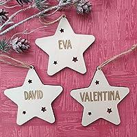 Adorno navidad estrella árbol bola de madera personalizadas con cordel para colgar, Ornamento Decoraciones colgantes de…
