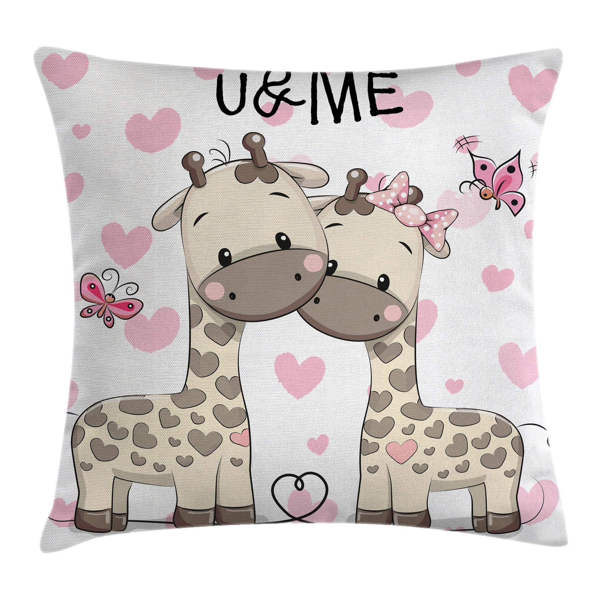 Ambesonne Kids Throw Pillow Cushion Cover, Cute Giraffes in Pure Valentine's Love with Butterflies and Hearts Bows Art, Decorative Square Accent Pillow Case, 36 X 16 Inches, Pink White and Grey