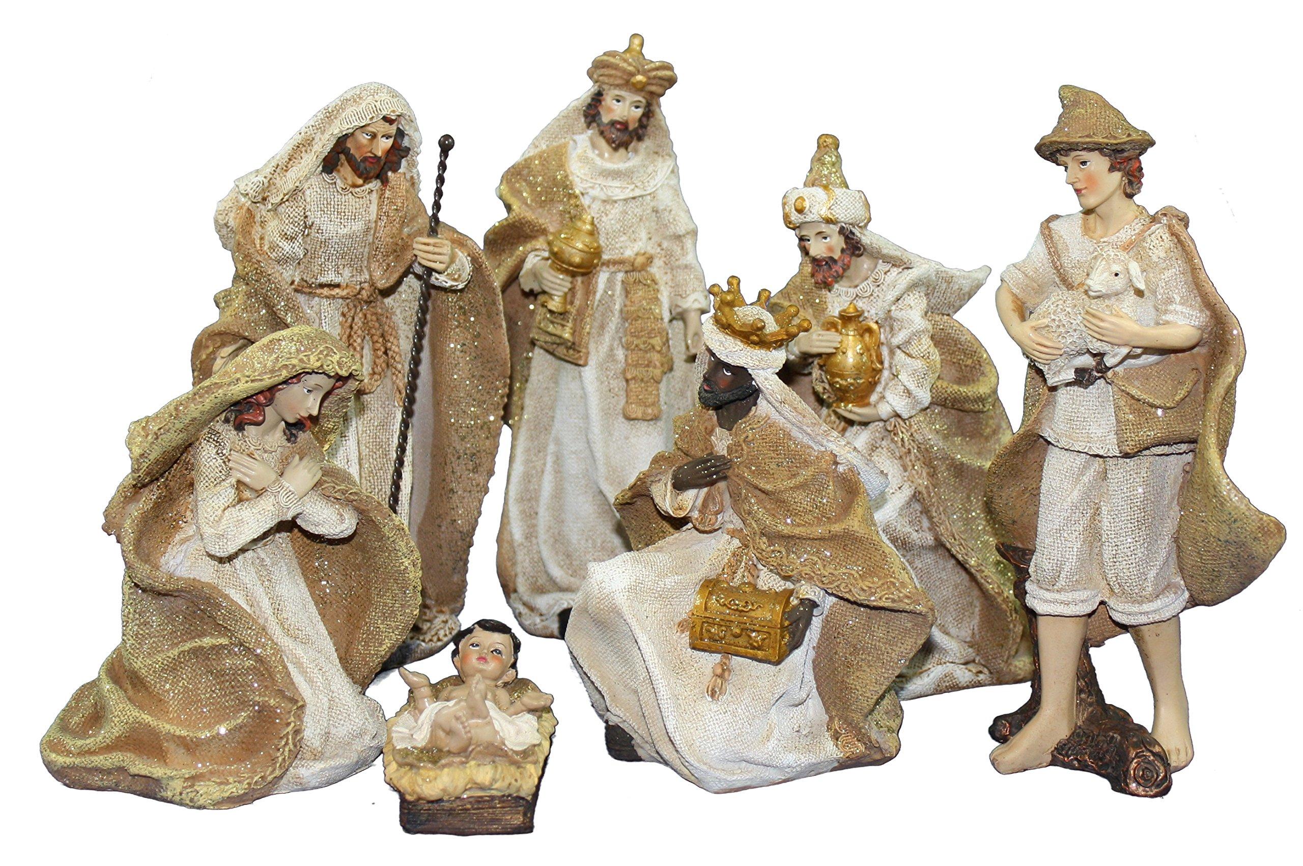 Resin Burlap Look 7 Piece Nativity Set