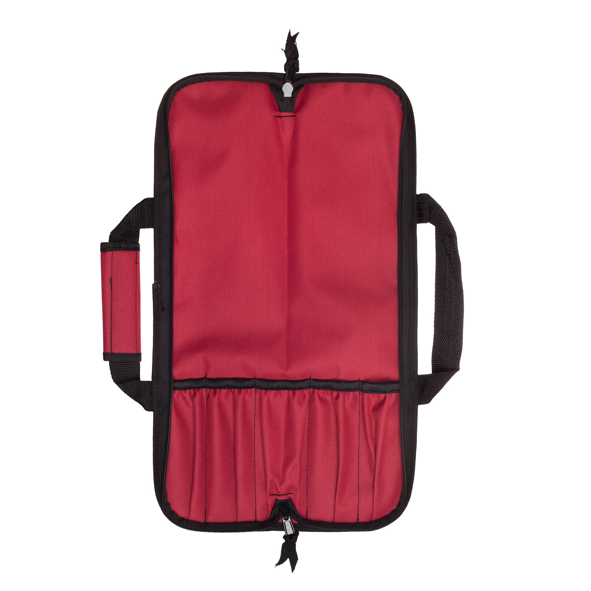 5 Pocket Padded Chef Knife Case Roll with 5 pc. Edge Guards (Red 5 Pocket bag w/5pc. Black Edge guards) by Ergo Chef (Image #4)