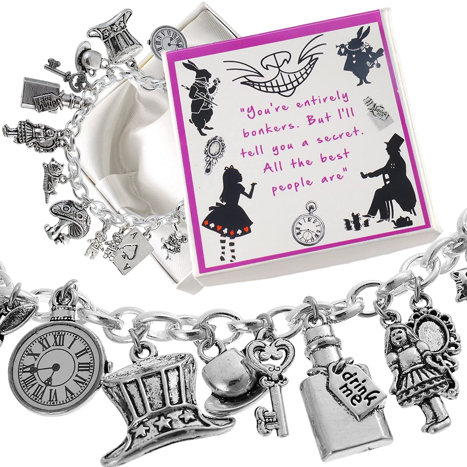Alice in Wonderland Charm Bracelet with Presentation Gift Box Ladies Girls Charm Buddy Alice Bracelet No.1/.