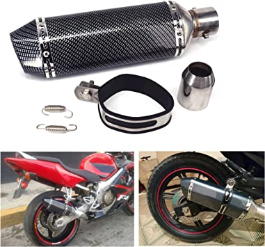 JFG RACING Slip On Exhaust Universal 1.5-2 Inlet Muffler With Removable DB Killer For Street Bike Motorcycle Scooter Carbon Fiber Color