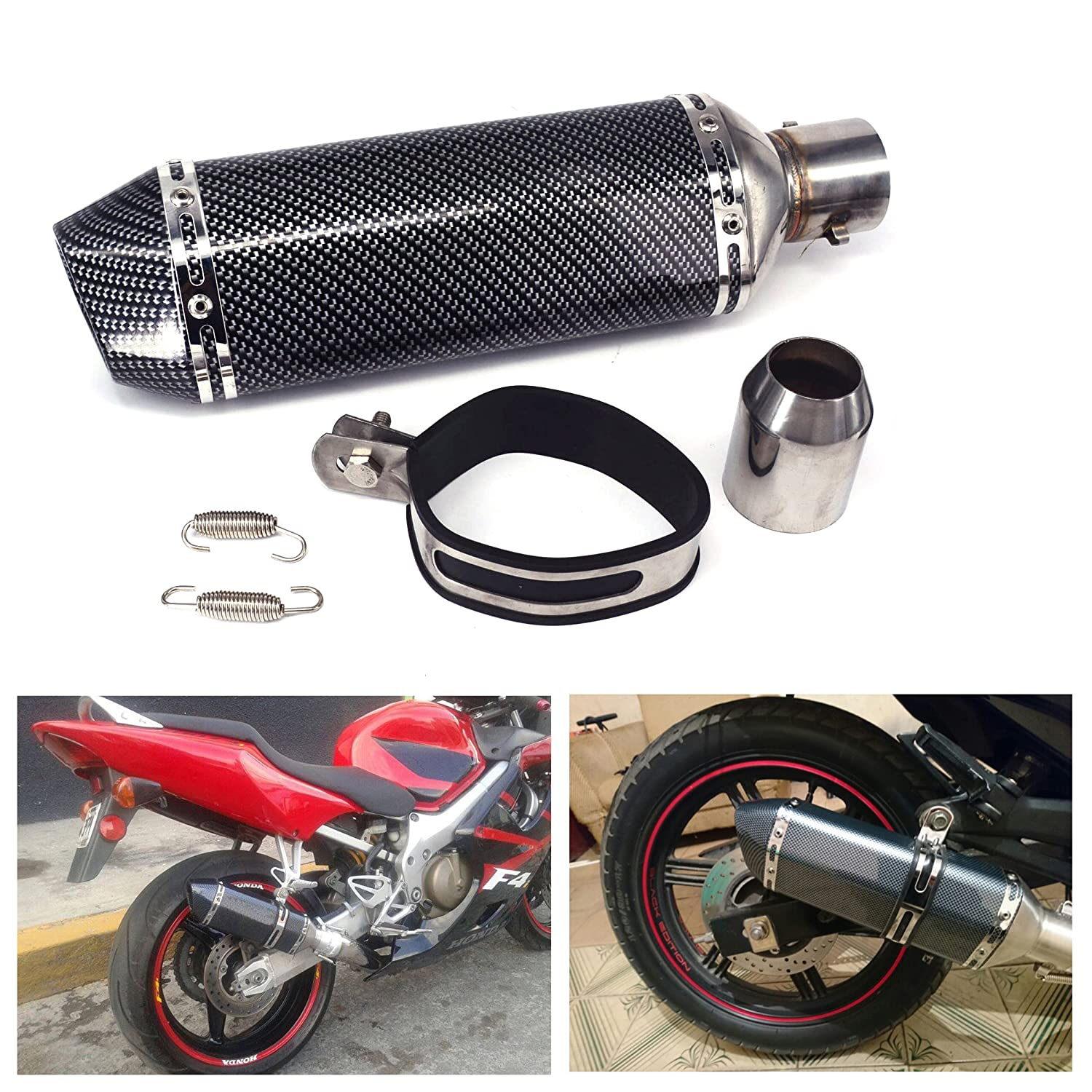 "JFG RACING Slip On Exhaust Universal 1.5-2"" Inlet Muffler With Removable DB Killer For Street Bike Motorcycle Scooter - Carbon Fiber Color"
