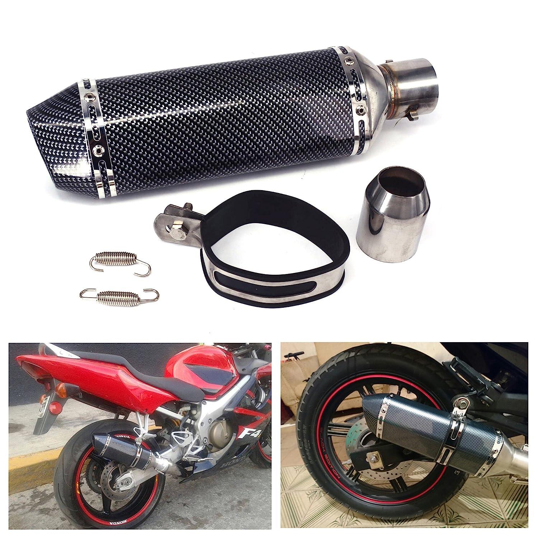JFG RACING Universal 1, 5-2 'Inlet Slip On Silenziatore di scarico con DB rimovibile Killer per moto da strada Scooter - Colore fibra di carbonio