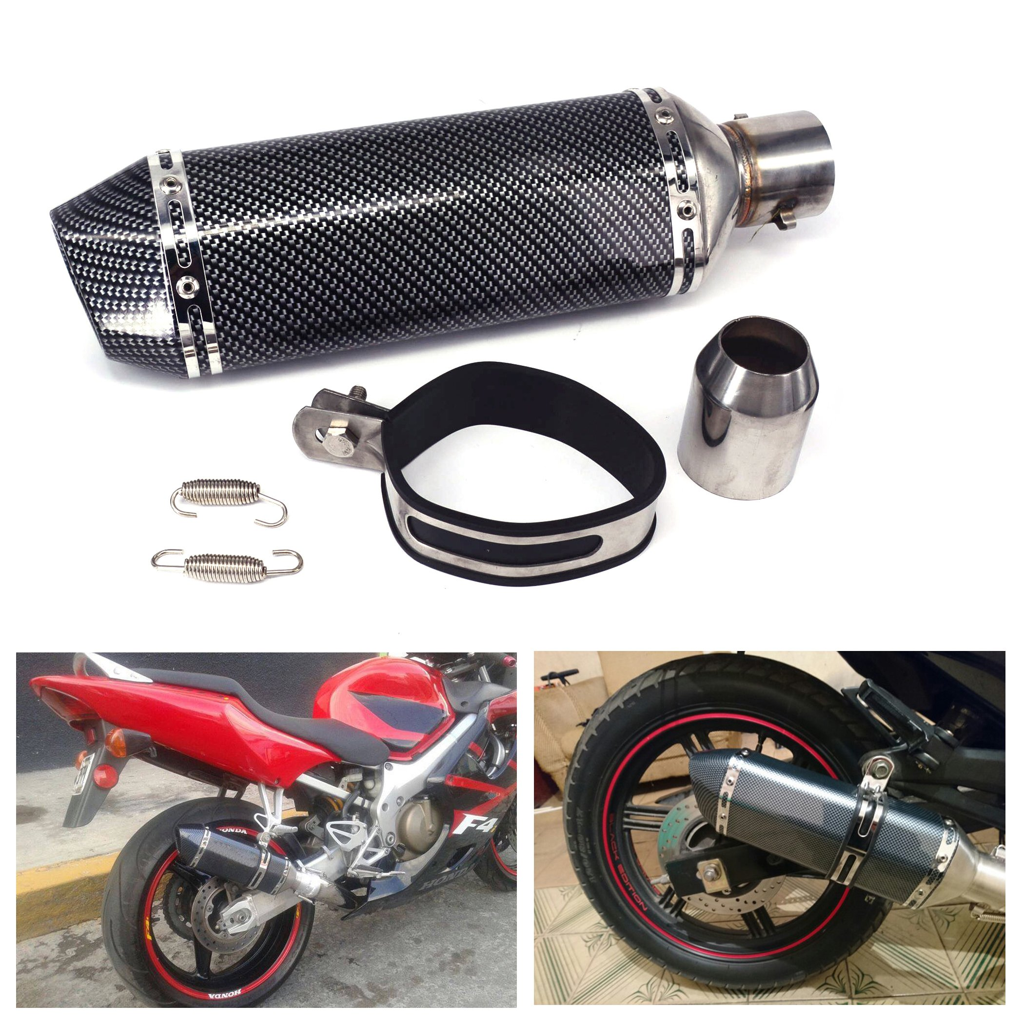 JFG RACING Universal 1.5-2'' Inlet Slip On Exhaust Muffler With Removable DB Killer - Street Bike Scooter Motorcycle - Carbon Fiber