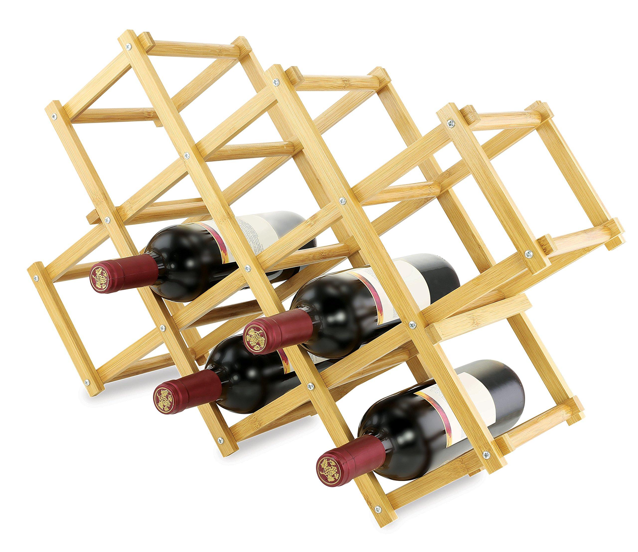 KOVOT Foldable Bamboo Wine Rack, Wood,