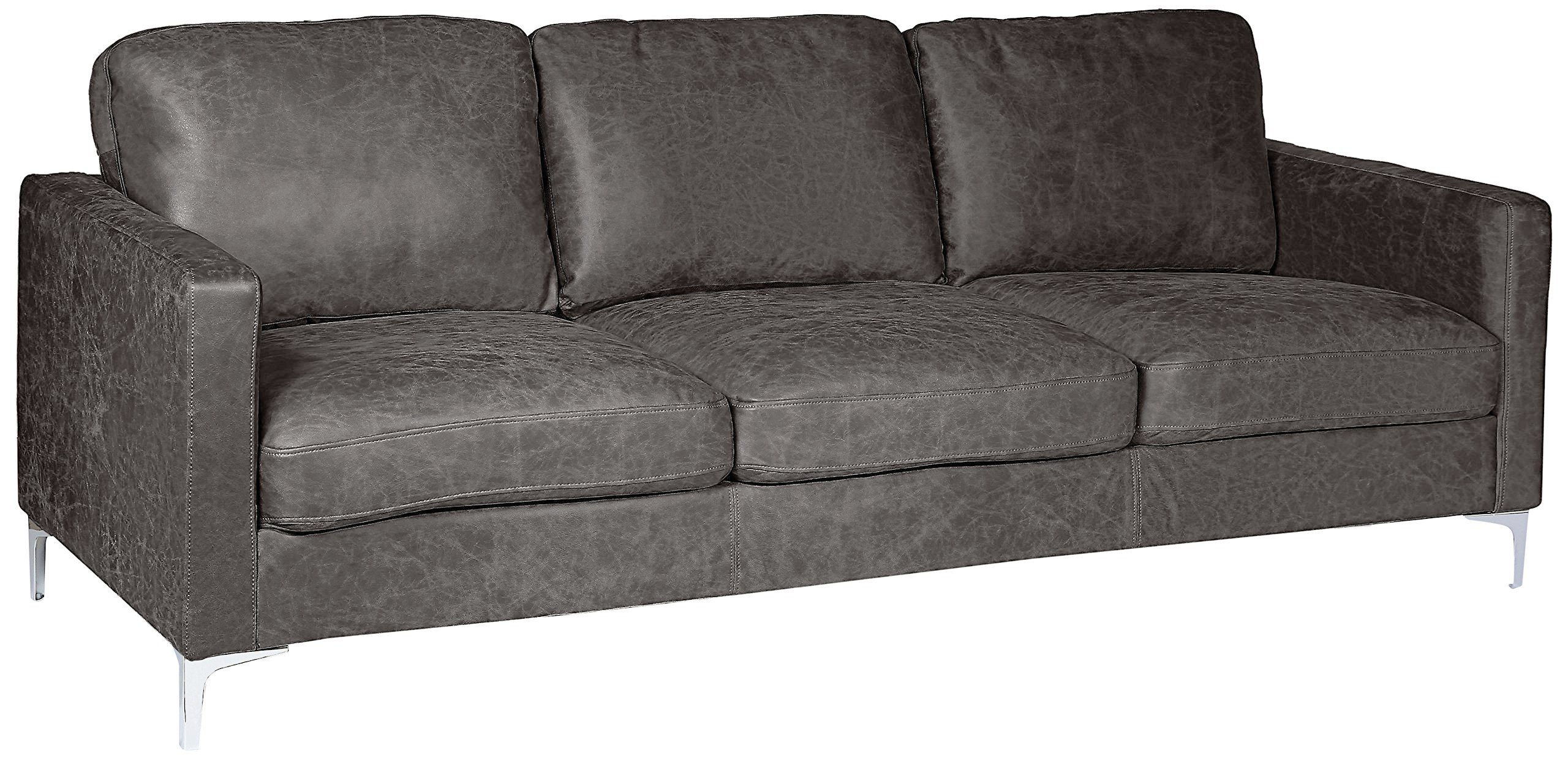 Homelegance Breaux Modern Track Arm Sofa with Chrome Legs Accents, Gray by Homelegance