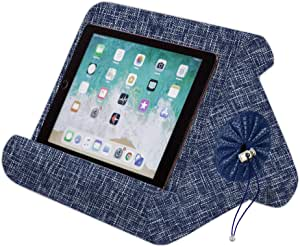 Flippy with New Storage Cubby Multi-Angle Soft Pillow Lap Stand for iPads, Tablets, eReaders, Smartphones, Books, Magazines (Blue are You)