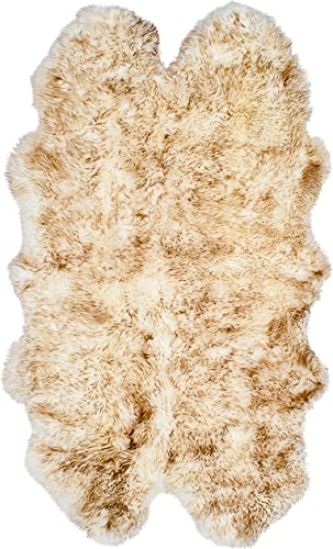 Natural Thick and Lush 2.5 inch Pile Anti-Skid Backing Hypo-Allergenic Premium Quality New Zealand Sheepskin Wool Area Rug