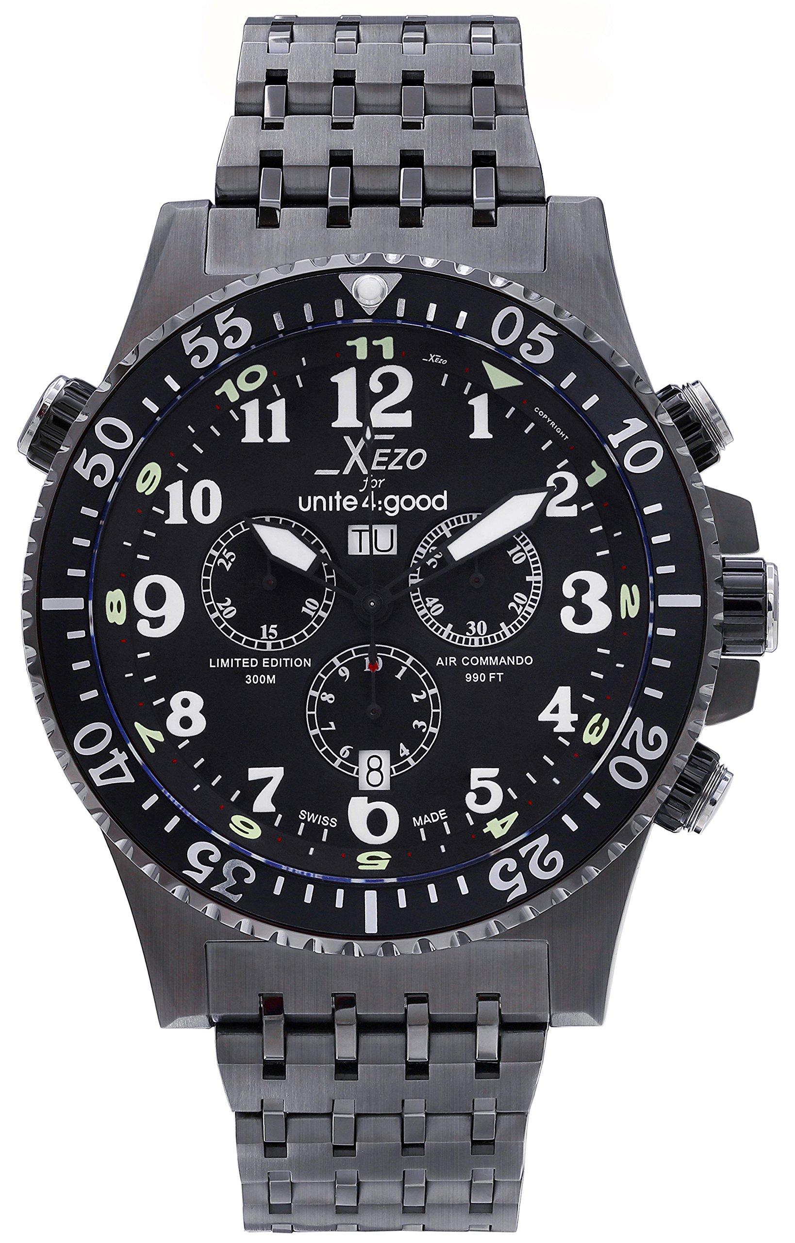Xezo Men's Air Commando Swiss-Quartz Pilots Diver Chronograph Wrist Watches, Black Gun Metal
