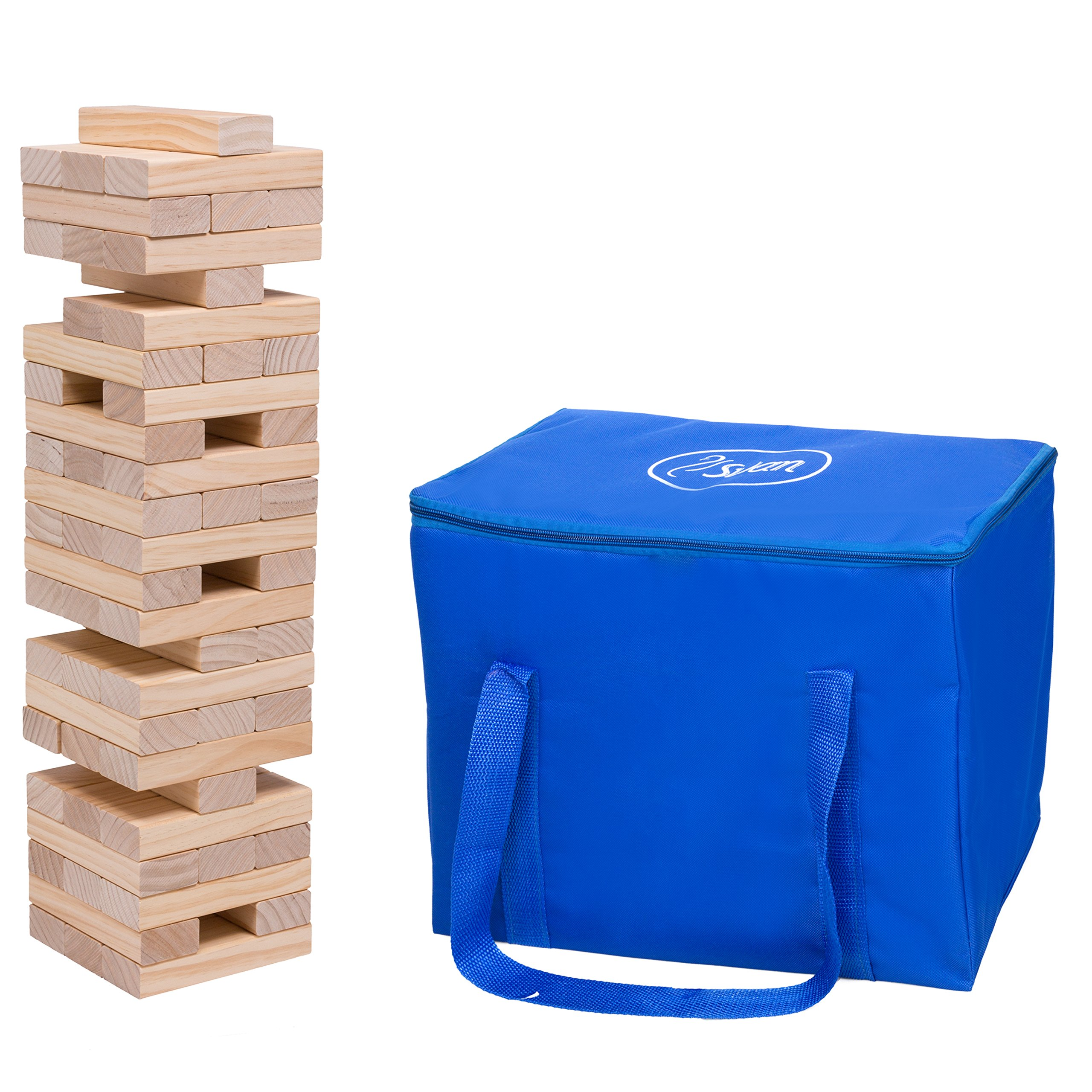 Giant Tumbling Stacking Game - 60pc Jumbo Set w Carrying Bag - Wood Tower Builds up to 5 Feet Tall