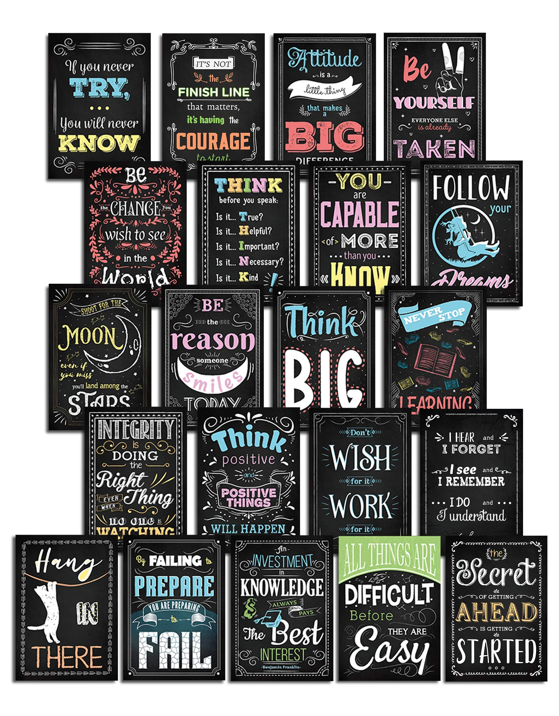Everyday Educate Inspirational Classroom Wall Decor Posters - Motivational Art and Educational Learning Quotes for Kids and Teens - School, Home, Office or Playroom Board - Set of 21 Teacher Supplies