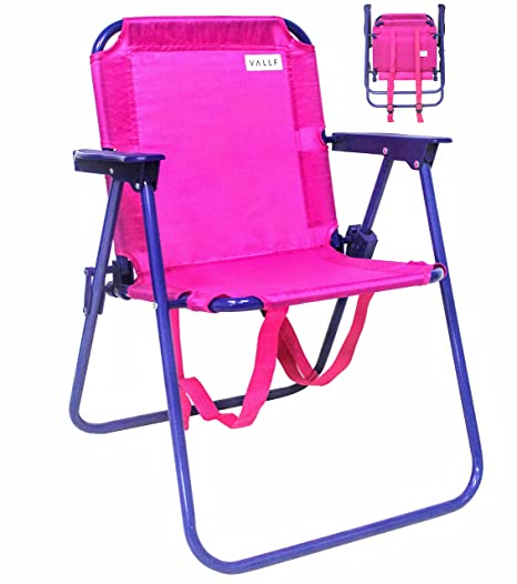 VALLF Kids Beach U0026 Camping Folding Chair With Convenient Backpack Straps  And Safety Lock To Avoid