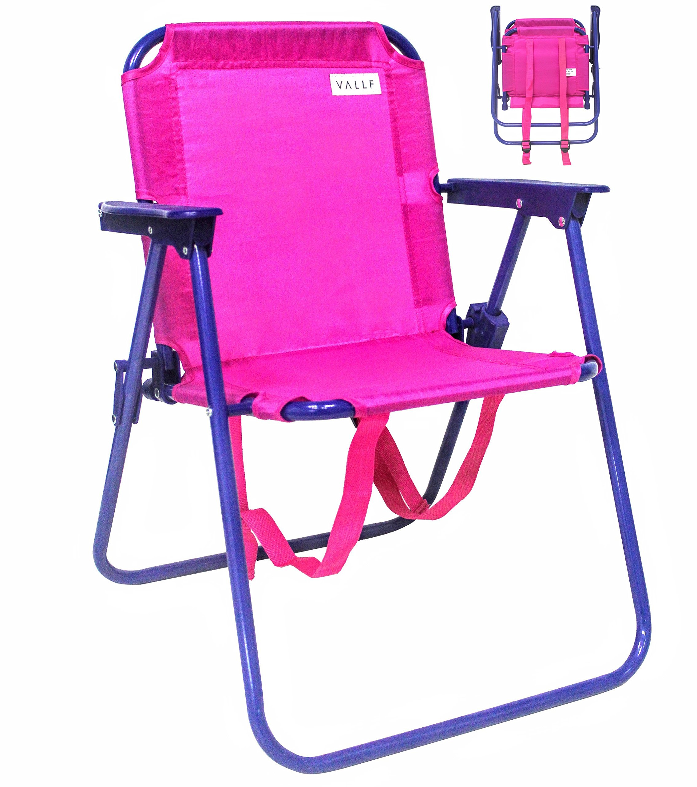 VALLF Kids Beach & Camping Folding Chair with Convenient Backpack Straps and Safety Lock to Avoid Accidents 2~5 Years Old (Pink) by VALLF (Image #1)