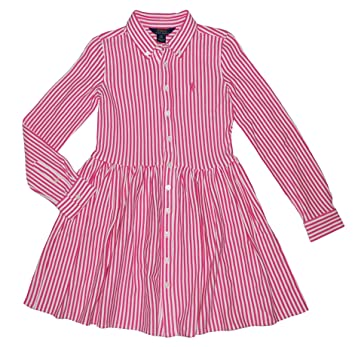 6693a7f8d Image Unavailable. Image not available for. Color  Ralph Lauren Polo Girls  Striped Interlock Shirtdress ...