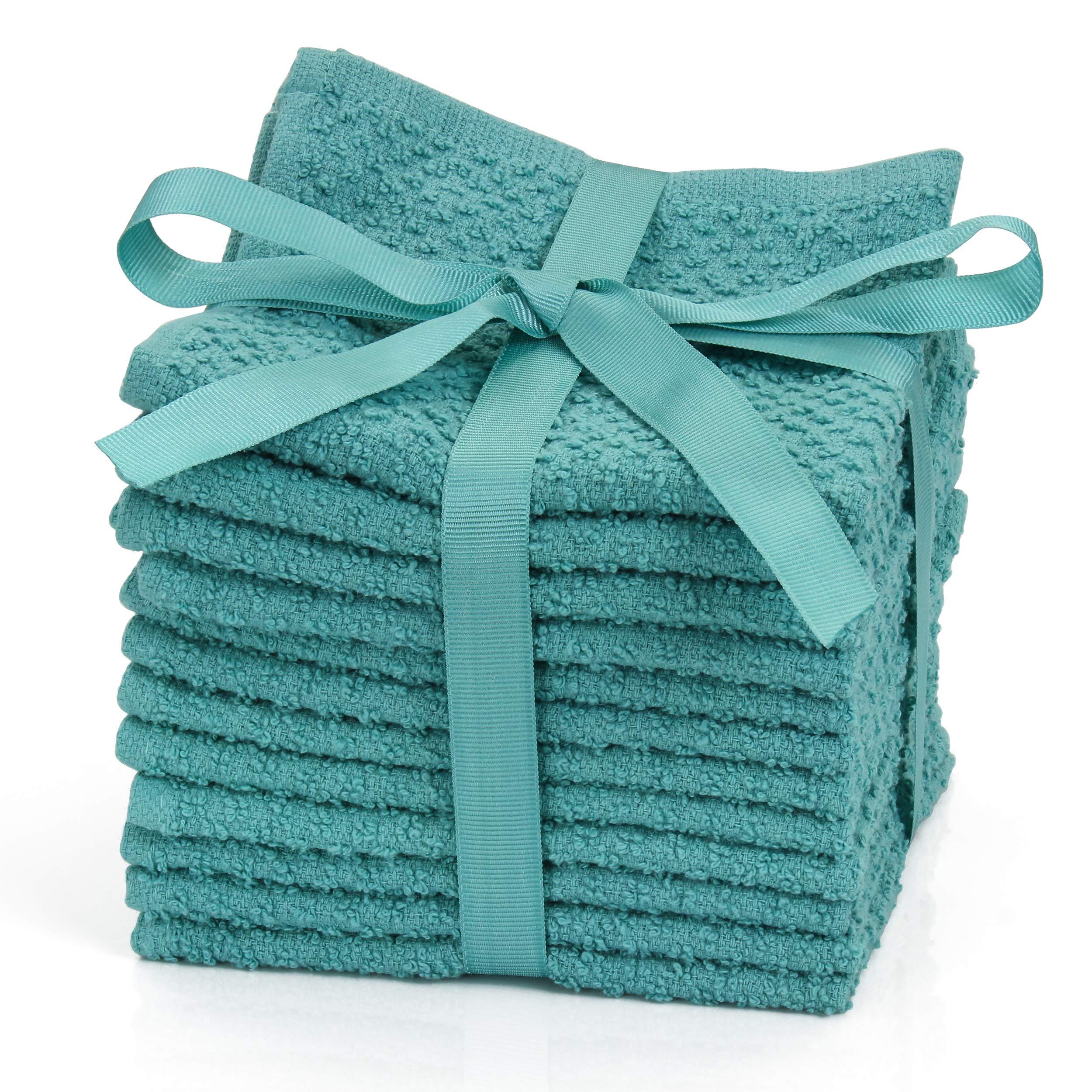 HomeCrate Solid 100% Cotton Super Soft Washcloths, 12 Piece Set, 12'' x 12'' - Turquoise