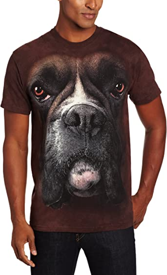The Mountain Brand Big Face BOXER Dog Puppy Brown T-Shirt Adult Mens