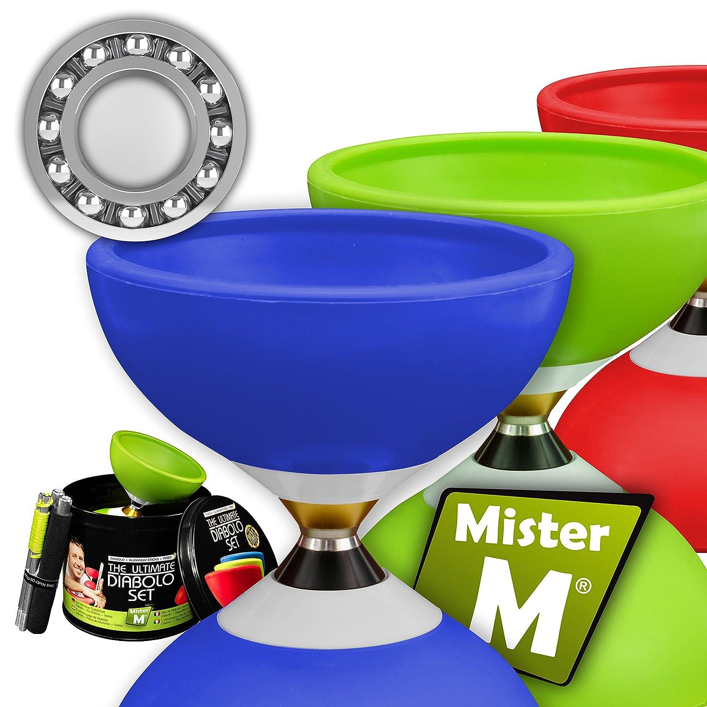Diábolo con Cojinetes Triples + Palo de Aluminio + Video en línea GRATUITO + en una Lata Elegante; El Definitivo Set de Diábolo (Azul) Mister M