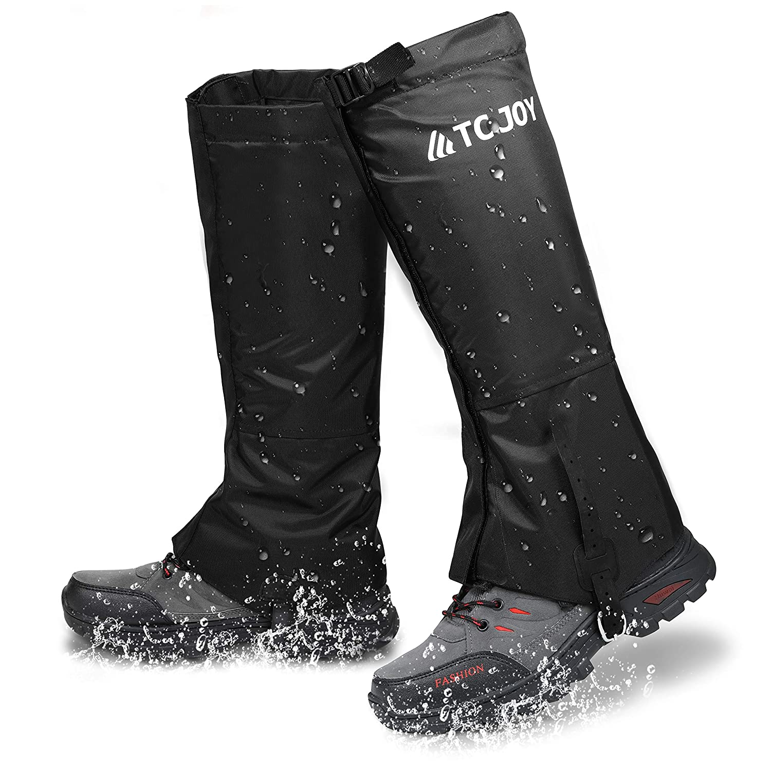 TC JOY Waterproof Leg Gaiters, Outdoor Snow Boot Gaiters for Hiking Walking Running, Anti-Tear 900D Oxford Fabric Hunting Gaiters for Man Woman, M L XL