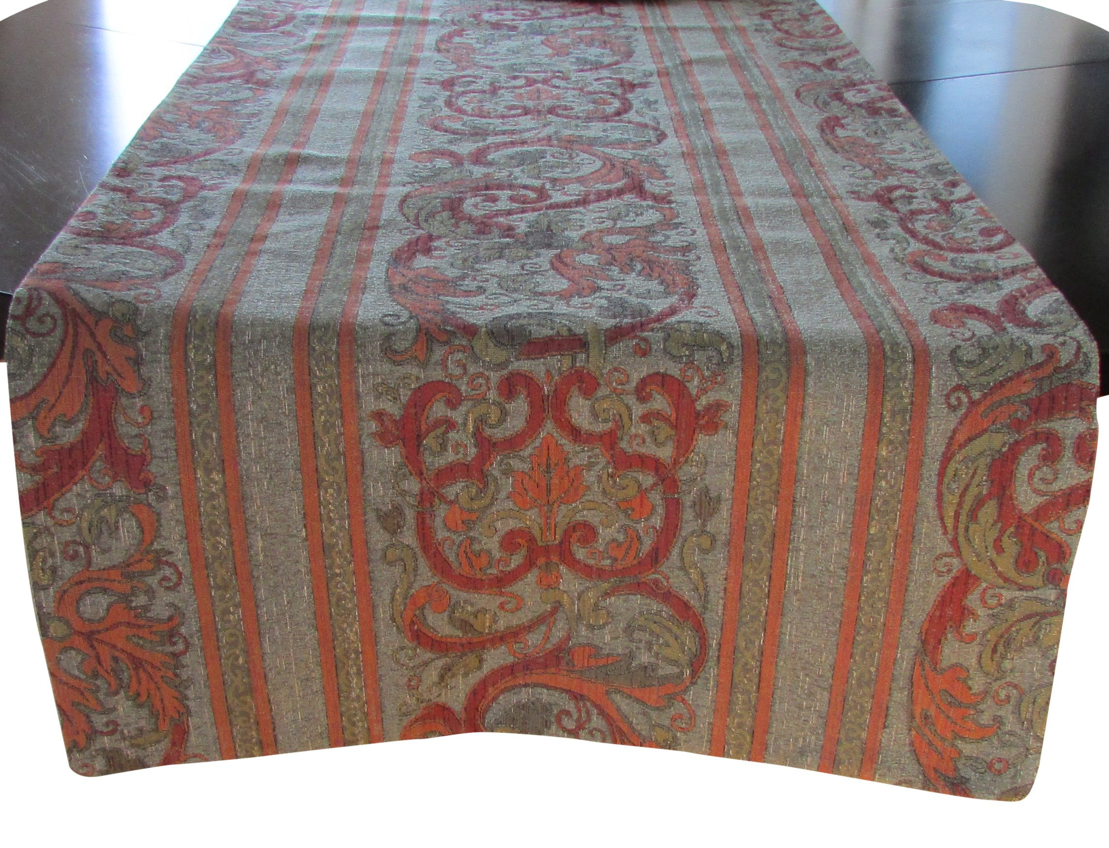 Corona Decor Extra-Wide Italian Woven Table Runner, 95 by 26-Inch, Olive/Red