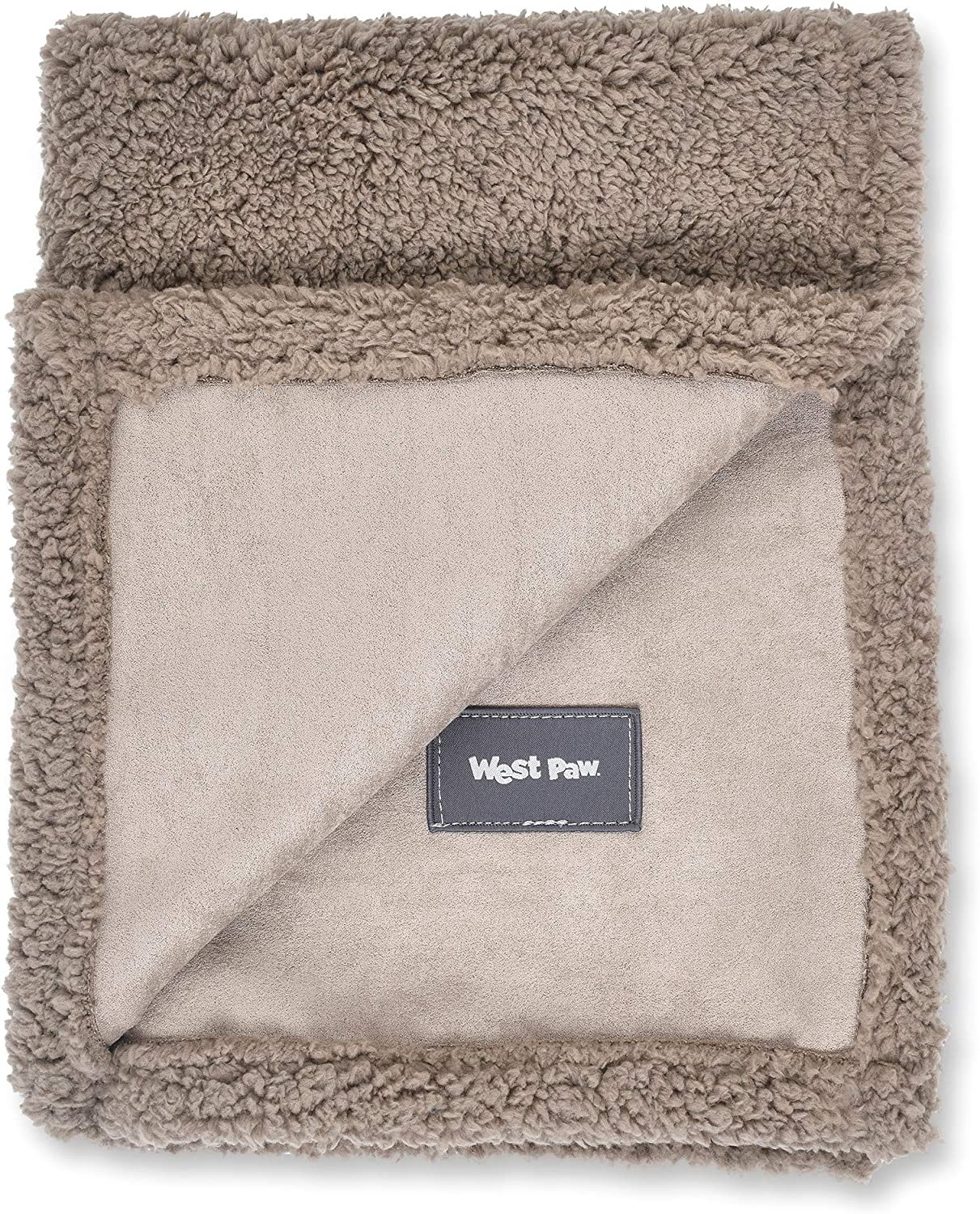 West Paw Big Sky Dog Blanket and Throw, Faux Suede/Silky Soft Fleece Pet Throw Blanket for Couch, Furniture Chair and Bed, Oatmeal, Medium