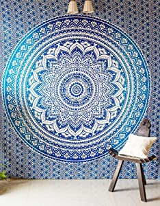 Large Poster Size Tapestry Wall Decor - Ombre Mandala Door Hanging Tapestries for Men and Women Elegant Boho Room Dorm Decoration - Blue - 50x60 in