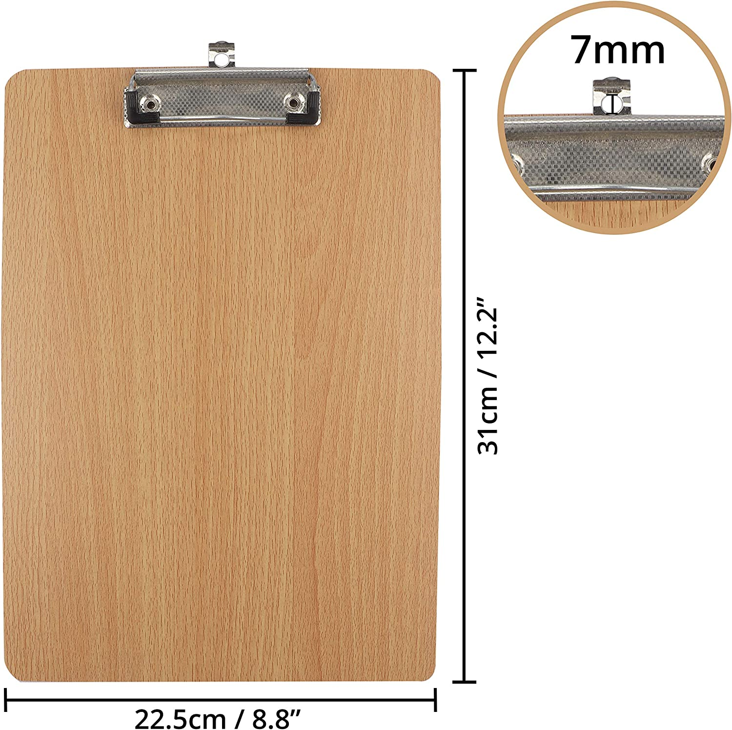 - A4 Oak Clipboards with Sturdy Spring-Loaded Grip and Hanging Hole Wooden Clipboards Durable Wooden Clip Boards Ideal for Holding Menu Office and School Uses 6 Pack