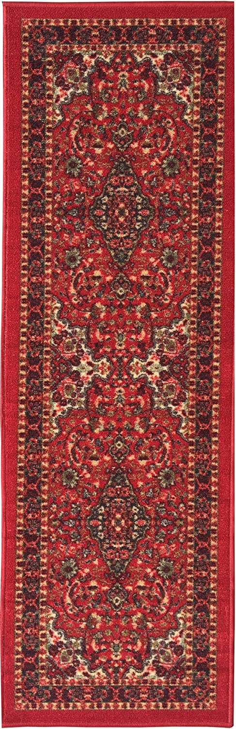 """Ottohome Collection Persian Heriz Oriental Design Red Runner Rug (20""""X59"""") With Non-Skid (Non-Slip) Rubber Backing"""
