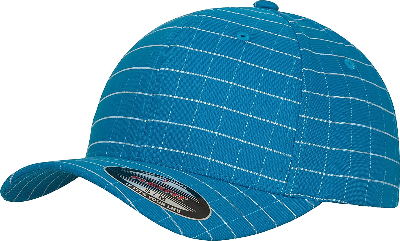 9277 Flexfit square check cap Turquoise// White, SM