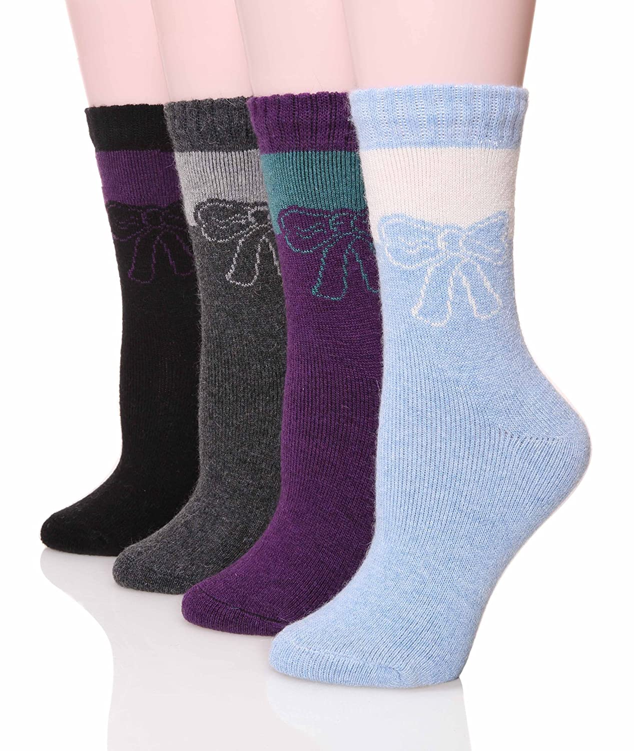 1950s Socks- Women's Bobby Socks SDBING Womens Extra Thick Colorful Winter Warm Soft Socks ( Pack of 4 ) $15.99 AT vintagedancer.com