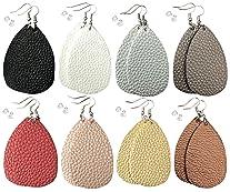 Leather Earrings Lightweight Faux Leather Leaf Dangle Earrings Teardrop Earrings Antique Handmade Earrings for Women...