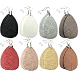 Leather Earrings Lightweight Faux Leather Leaf Dangle Earrings Teardrop Earrings Antique Handmade Earrings for Women Gift, 8 Pairs