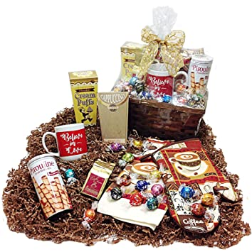 Coffee & Sweets Gift Basket - Lindt Chocolate Truffles, Mug, Coffee, Cappuccino,