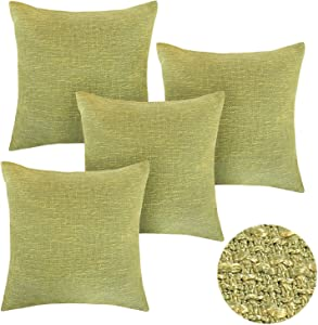 Deconovo Home Decorative Cushion Faux Linen Accent Throw Pillow Cover for Sofa with Invisible Zipper, 18x18 Inch, Limeade Green-4 PCS