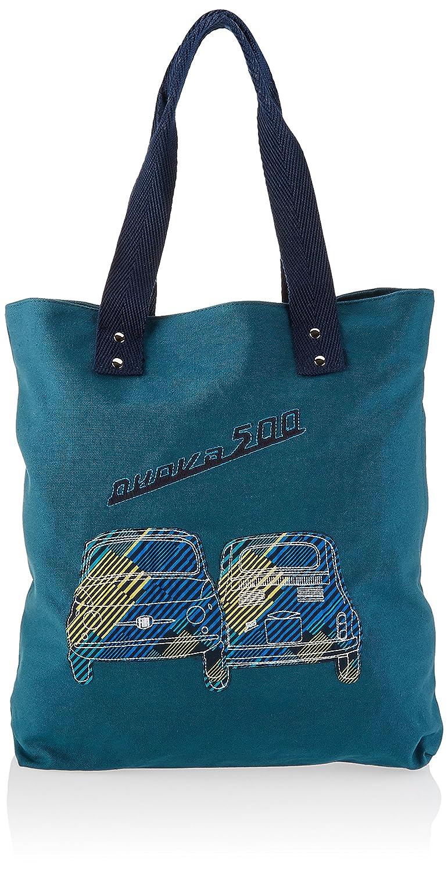Fiat 500キャンバス&ビーチトートバッグ、ガソリン(ブルー) - FICV12   B07B178WZL