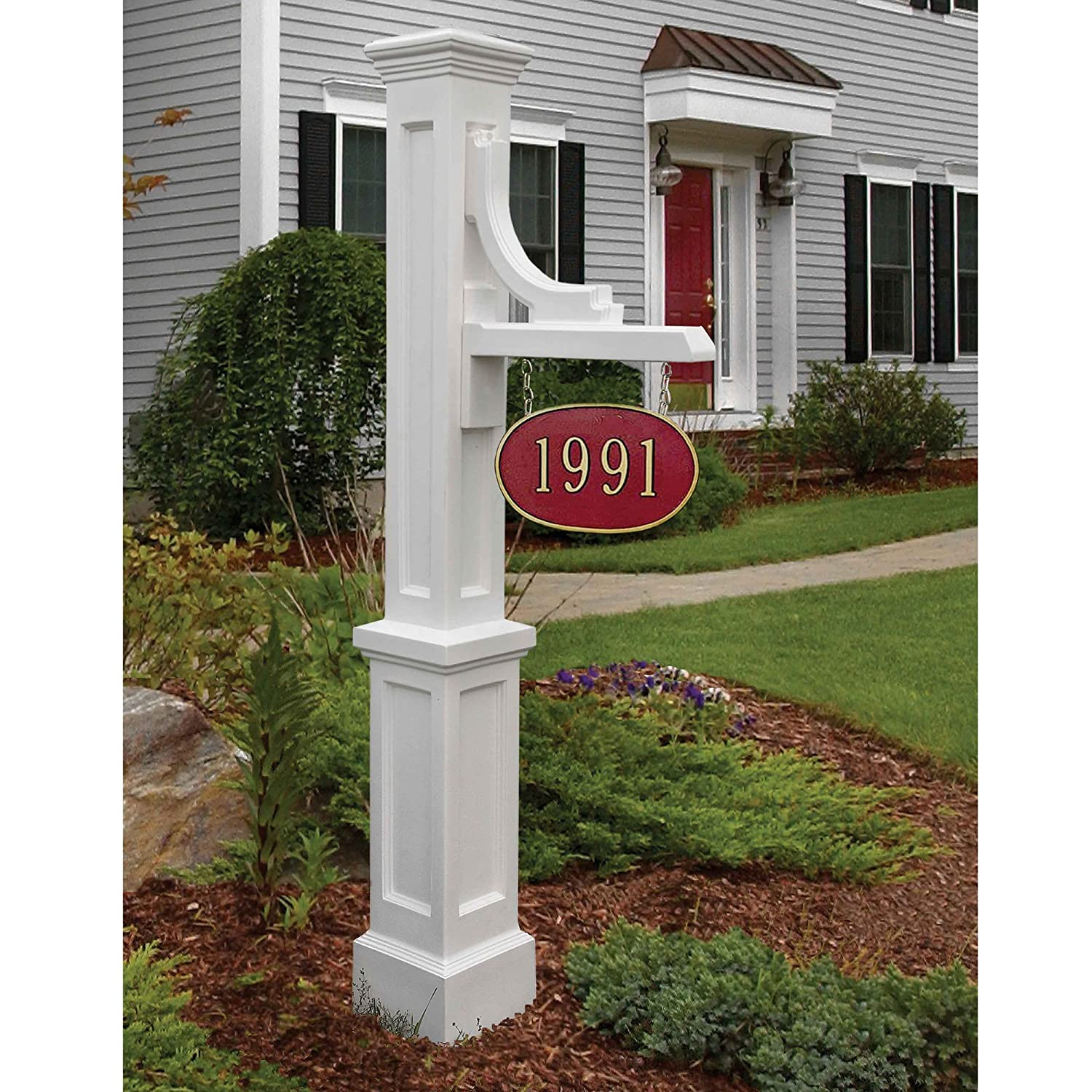 Amazon: Mayne 5812wh Woodhaven Address Sign Post, White: Home  Improvement