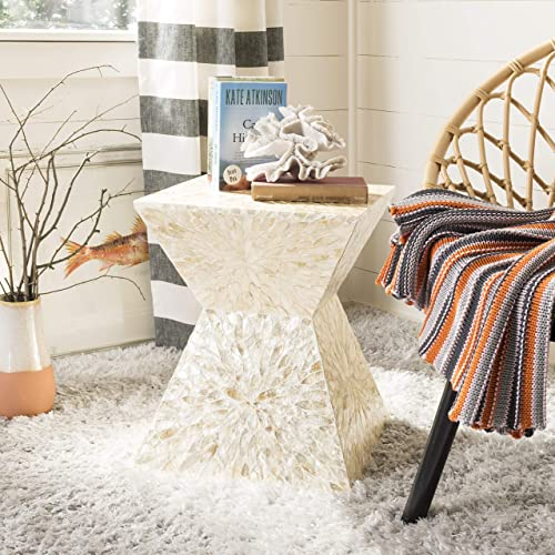 Safavieh Home Calypso Multi and Beige Faux Mother of Pearl Sunburst Mosaic Stool