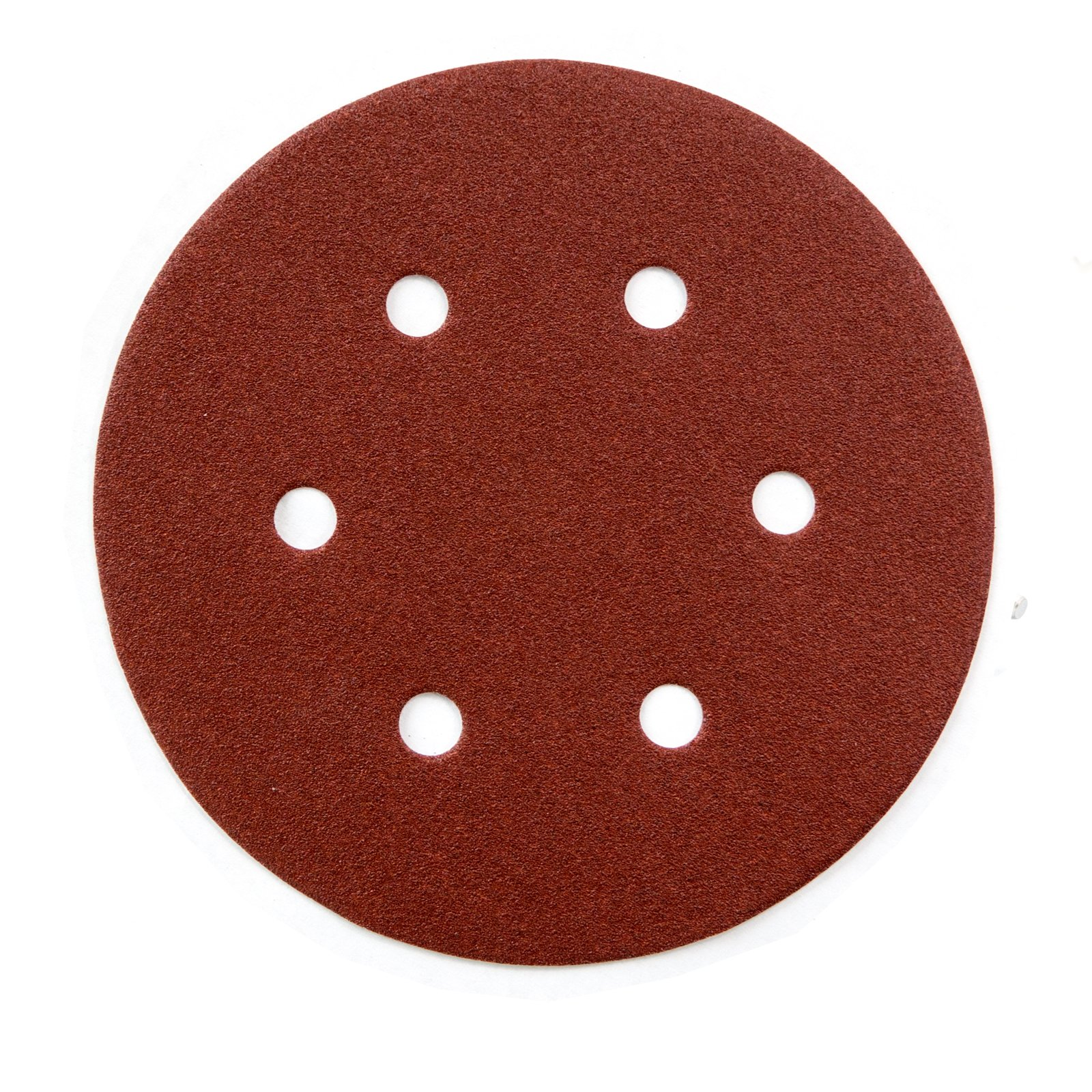 POWERTEC 45200 A/O Hook & Loop 6 Hole Disc, 6'', Assortment Grits 40, 80, 120, 220, 320, Red, 100 Pack