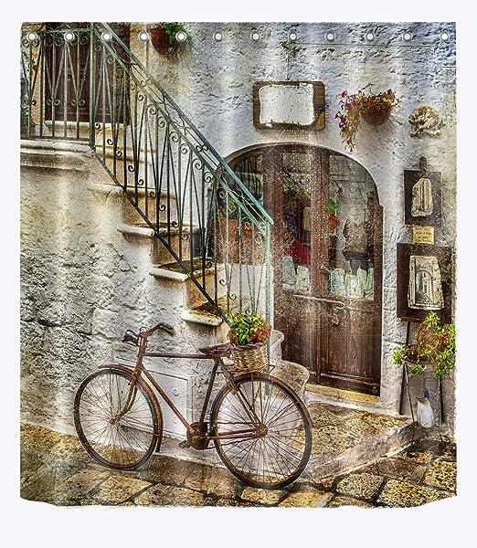 JYEJYRTEJ Casa Vieja Bicicleta Cortina de Ducha Tela Impermeable Cortina de Ducha Impermeable Material de poliéster: Amazon.es: Hogar