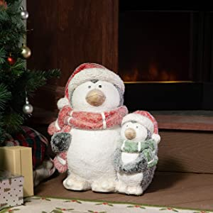 Alpine Corporation QWR902 Alpine Winter Penguin Family Statue, Indoor and Outdoor Festive Decor for Home, Yard, Garden, Lawn Holiday décor, Multi