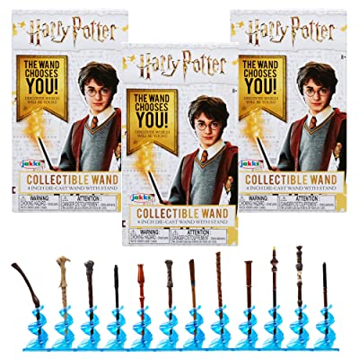 Harry Potter Collectible Wand 4 Inch Die Cast Wand with Stand Blind Boxes - Pack of 3: Toys & Games