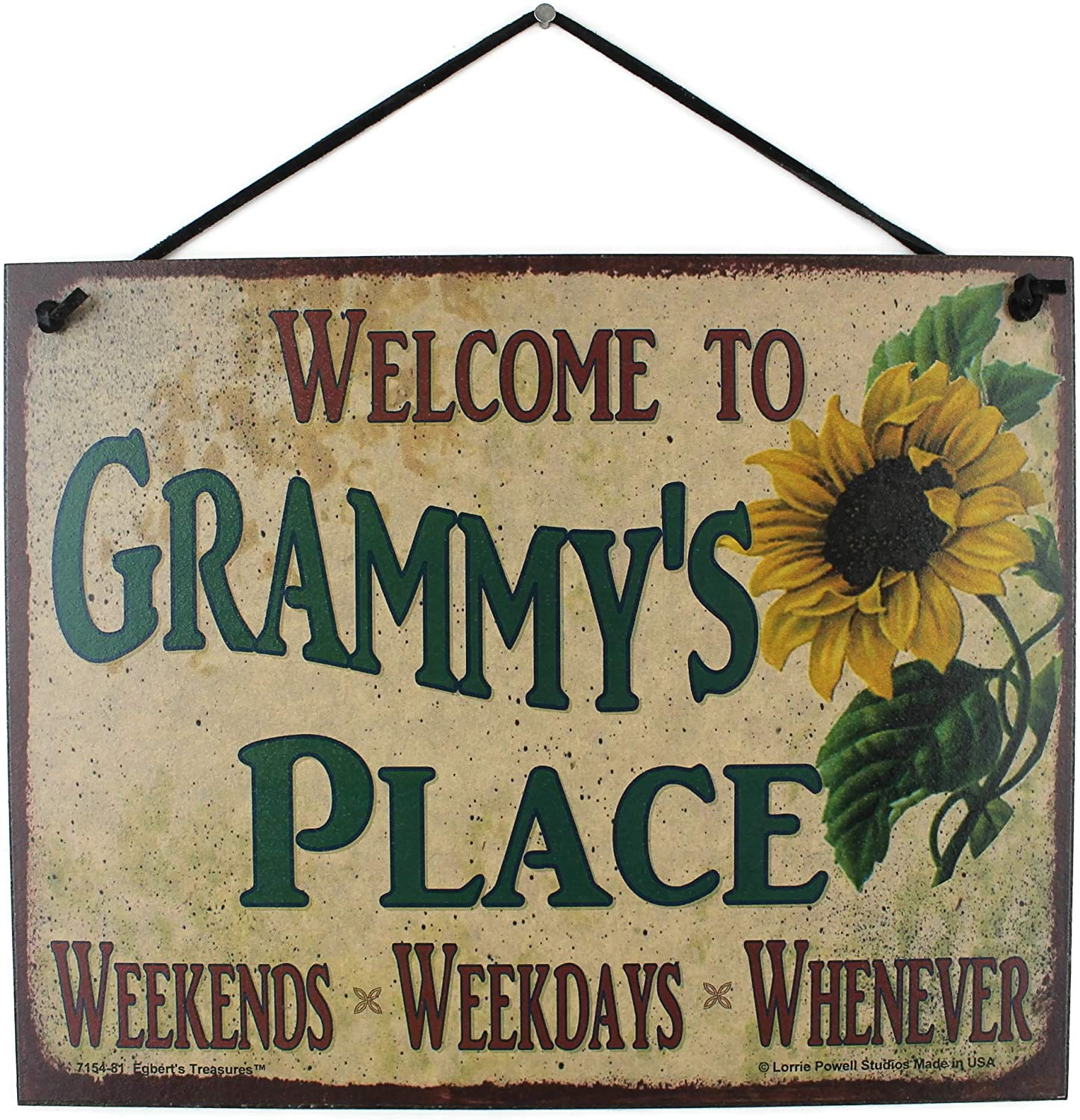 Egbert's Treasures 8x10 Vintage Style Sign with Sunflower Saying, Welcome to Grammy's Place Weekends, Weekdays, Whenever Universal Decorative Household Fun Family Signs for Grandma