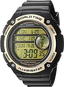Casio Men's Black Dial Silicone Band Watch - AE-3000W-9AVDF, Quartz