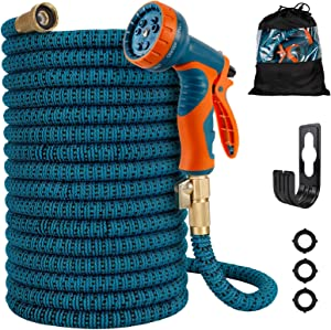 Gpeng Expandable Garden Hose , Water Hose with 9 Function Nozzle and Durable 3-Layers Latex Core with 3/4