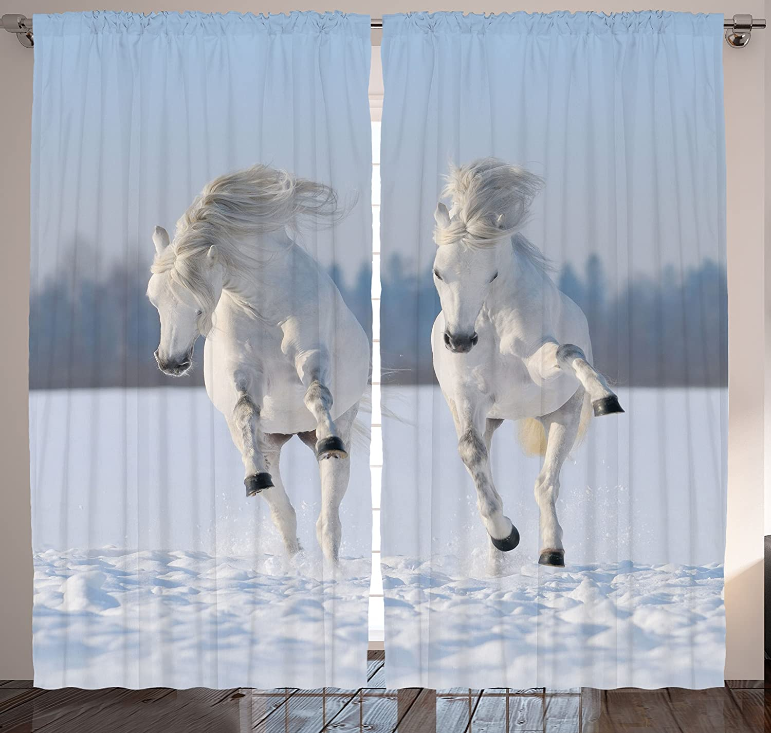 Curtains drapes window 2 panel horse bedroom living room for Window horses