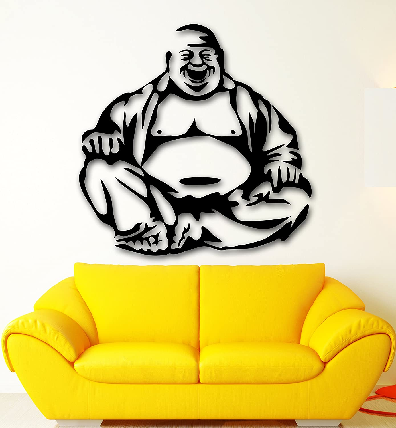 amazon com wall sticker vinyl decal laughing buddha buddhism amazon com wall sticker vinyl decal laughing buddha buddhism religion meditation ig2094 m 22 5 in x 23 in black home kitchen