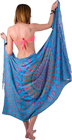 Pink Lt Green Hand Batik Sarong Pareo Scarf Wrap Full Size Rayon Beach Cover up
